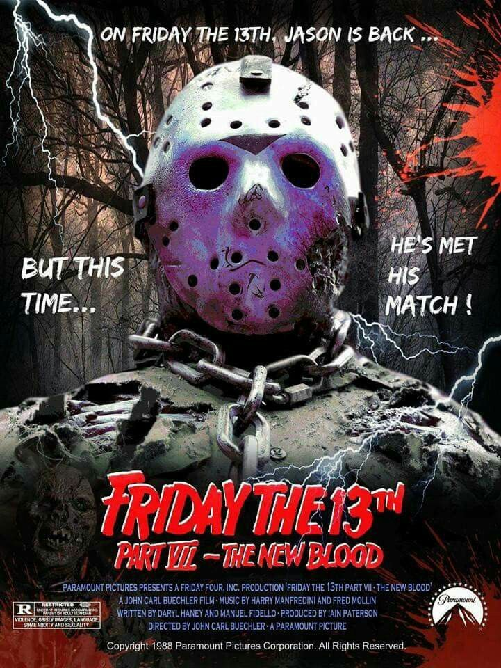 Friday The 13th 7 The New Blood Jason Cover Poster Art Design Cool Find Movie Related Fun
