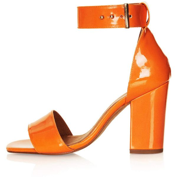 TOPSHOP RAMBLE Patent Leather Sandals ($67) ❤ liked on Polyvore featuring shoes, sandals, heels, orange, topshop, high heel shoes, orange sandals, high heel sandals, high heeled footwear and orange high heel shoes