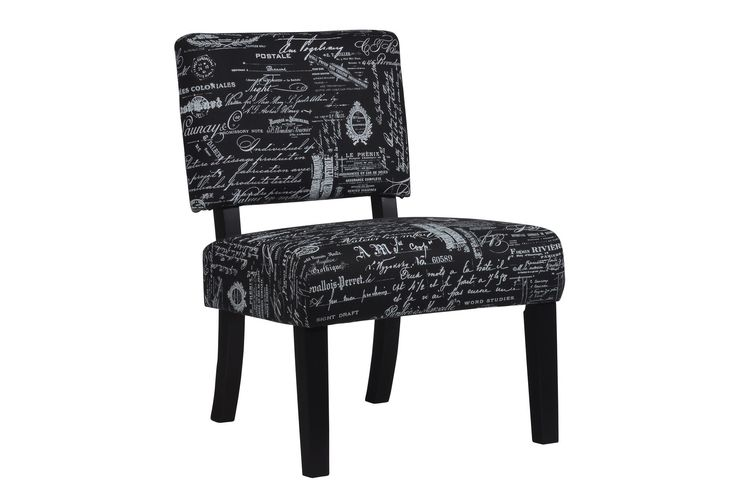 thea reverse script accent chair brings a literary
