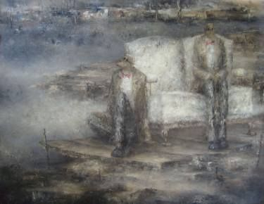 "Saatchi Art Artist Nicole Pfund; Painting, ""Blue Sand  100x120cm"" #art"