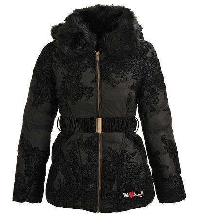 Doudoune Desigual imprimé fantaisie en velours Noir pour Femme prix promo Galeries Lafayette 184.00 € TTC.