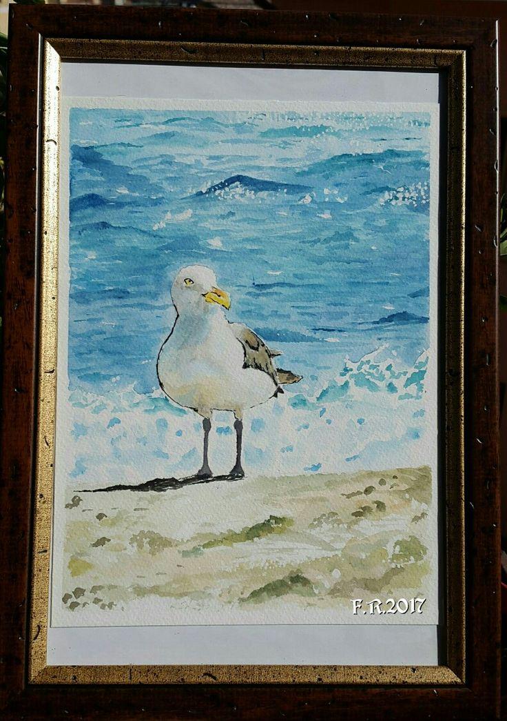 My Inspired Watercolor Seagull By Francesca Rocchi - Acquerello raffigurante un gabbiano fatto da Francesca Rocchi