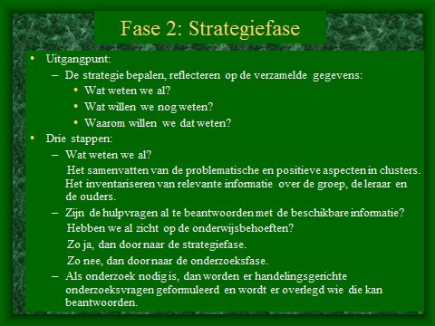 HGW: Fase 2. De strategiefase