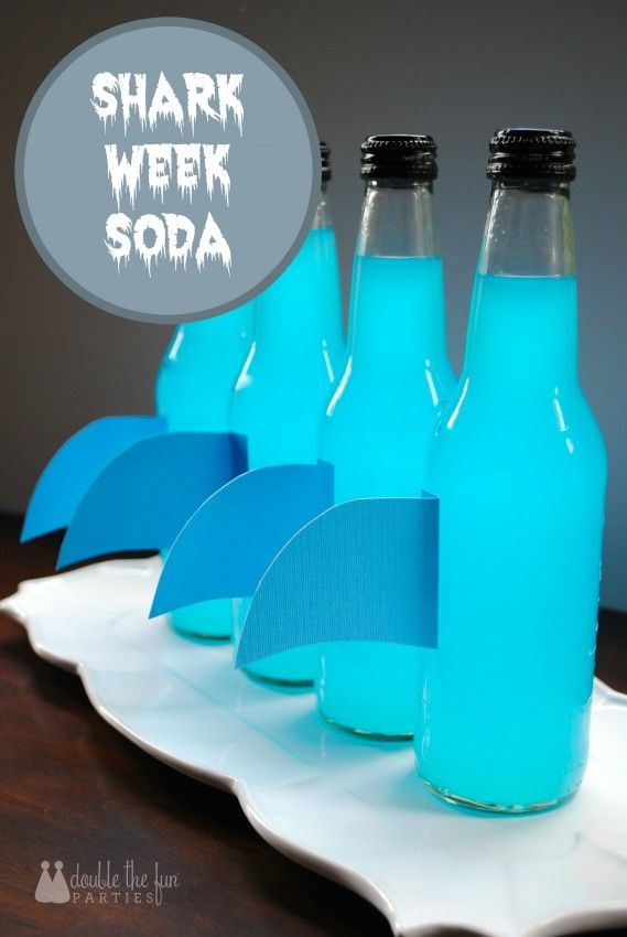 Love this - so easy! Shark Week Soda by Double the Fun Parties | http://doublefunparties.com/2014/08/11/shark-week-shark-fin-soda-bottles/ | #SharkWeek #JonesSoda