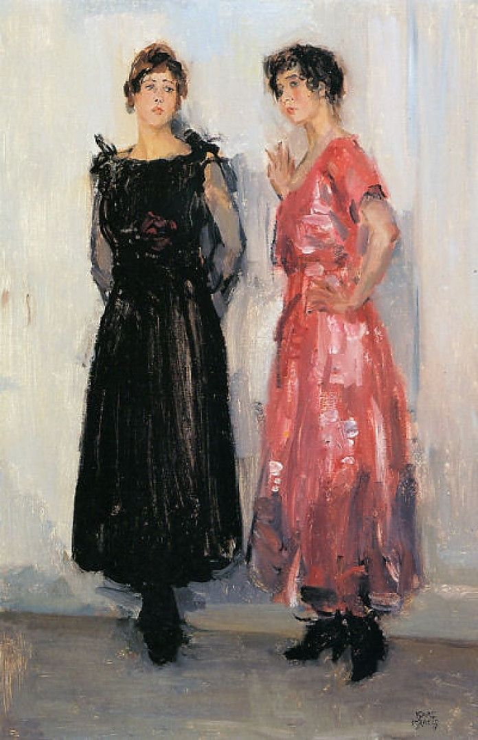Isaac Israëls, Twee modellen, Epi en Gertie, bij het Amsterdamse modehuis Hirsch, ca. 1916, olieverf op doek, 79.5 x 51 cm, privécollectie