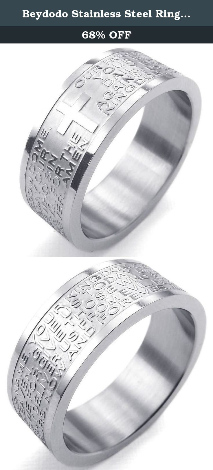 Beydodo Stainless Steel Ring (Punk Bands) English Lord's Prayer Cross Width 8mm Silver Size 9 For Men. This is a very elegant, massive and charming ring that can be worn on many special occasion. Be it a casual glamorous look or a cool chic one, this set of stainless steel rings faceted smooth polishing are ideal. The inner arc design doesn't scratch fingers for the drawing process. Never rust, don't fade, not allergic, acid and alkali resistant, hard, bright. An ideal gift or a good…