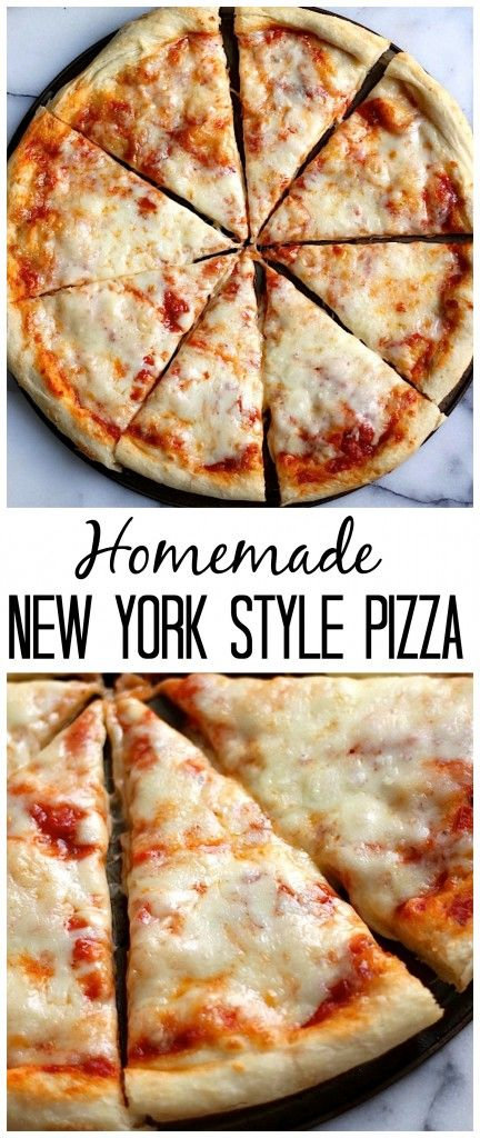 The Best New York Style Cheese Pizza - This is the REAL DEAL! Light and chewy homemade crust topped with tangy marinara sauce and tons of cheese! A MUST pin!