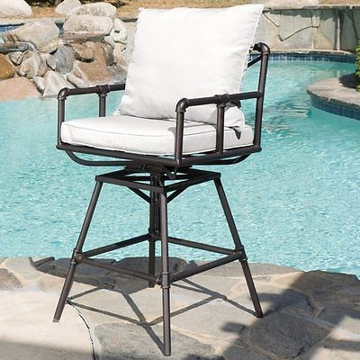 Home Northrup Pipe Outdoor Adjustable Bar stool Cushions Black Copper Seat Chair