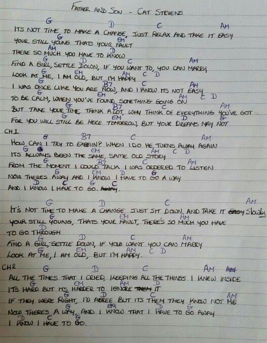 Chords & Lyrics - Father and Son - Cat Stevens