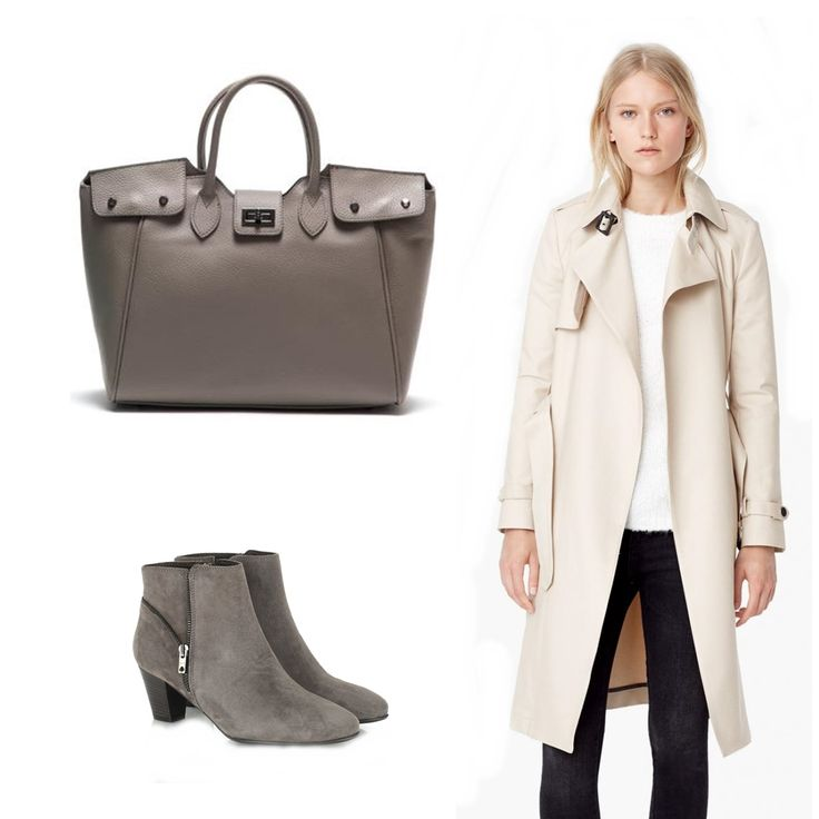 #OOTD: Maybe a white coat and a grey #Vesconi bag is all you need for this fall!