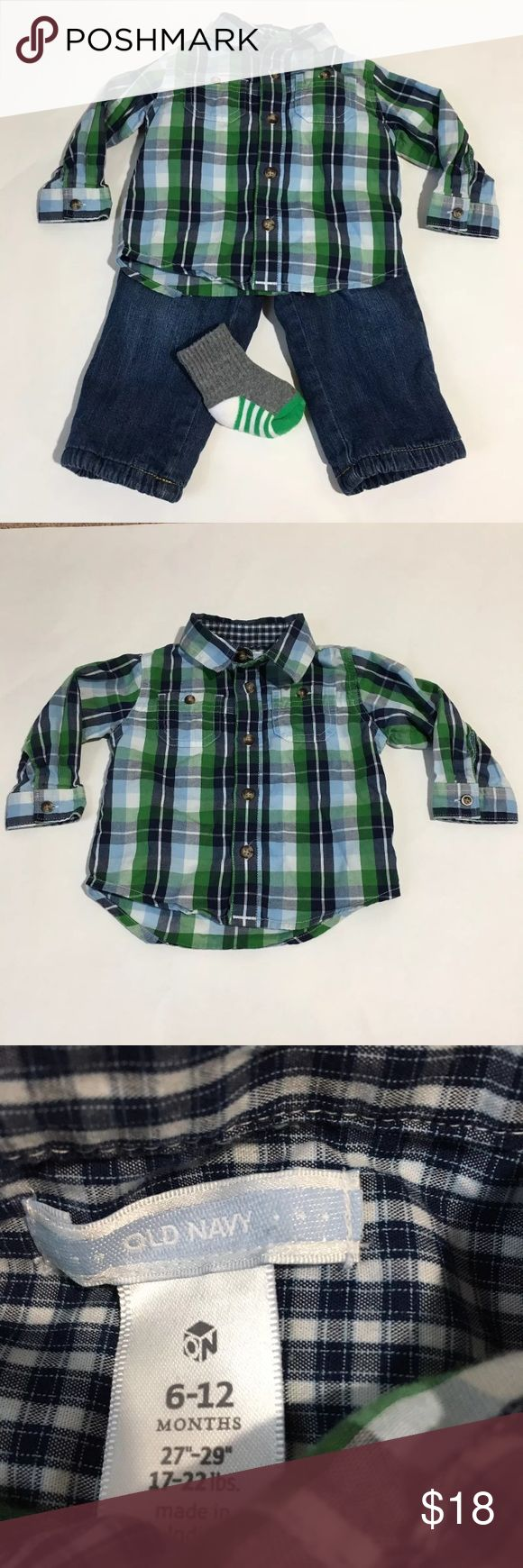 Green Plaid Shirt Fleece Lined Jeans Outfit 6-12m Boys Old Navy green plaid long sleeve button down shirt and fleece lined jeans outfit plus a pair of socks!! Size 6-12 Months. Excellent condition no flaws Old Navy Matching Sets