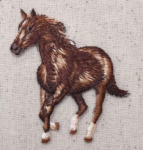 Iron On Embroidered Applique Patch Brown Horse Running Facing Left Full Body
