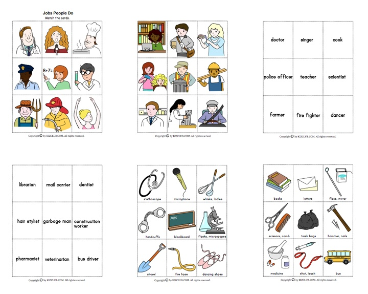 Here's a set of picture cards on jobs people do. Students ...