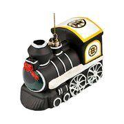 Boston Bruins Blown Glass Train Ornament - Black