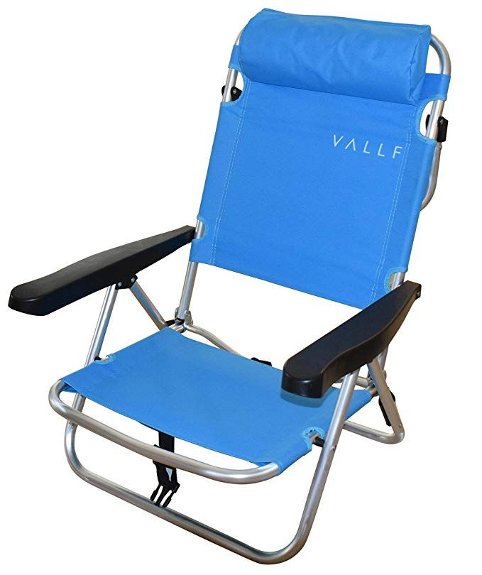 Vallf High Back And Lay Flat Aluminum Lightweight Sy 4 Position Backpack Beach Chair With Pillow Blue Review