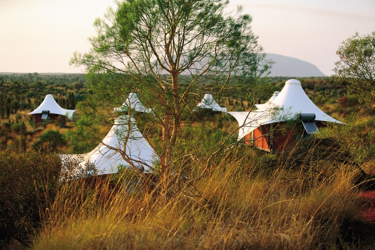 Longitude 131°, Ayers Rock (Uluru).  Luxury tents with views of Uluru.  Daily private activities.  Guided tours by helicopter and 4WD.  All-inclusive luxury.  Part of the Luxury Lodges of Australia.