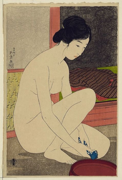 Hashiguchi Goyō, Woman after a Bath, 1915 #brushpainting #fineline #Ink and Wash Painting #Chinese Art #Japanese Art #Lady Painting