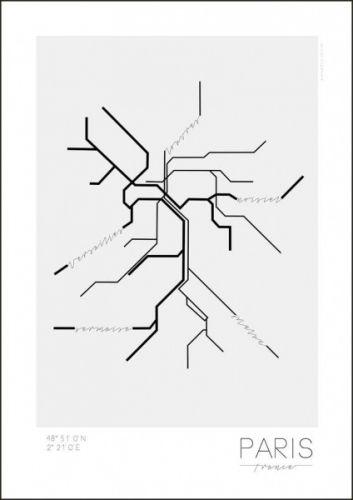 Poster inspiret av storbyens banesystem. Byens geografiske koordinater og populære områder er markerte. 50 x 70 cm. Leveres i papprull, uten ramme. 170 gram papir. Dette er en nyhet og kommer på lager medio august. Alle varer på samme ordre vil bli sendt samtidig så snart posteren er på lager.