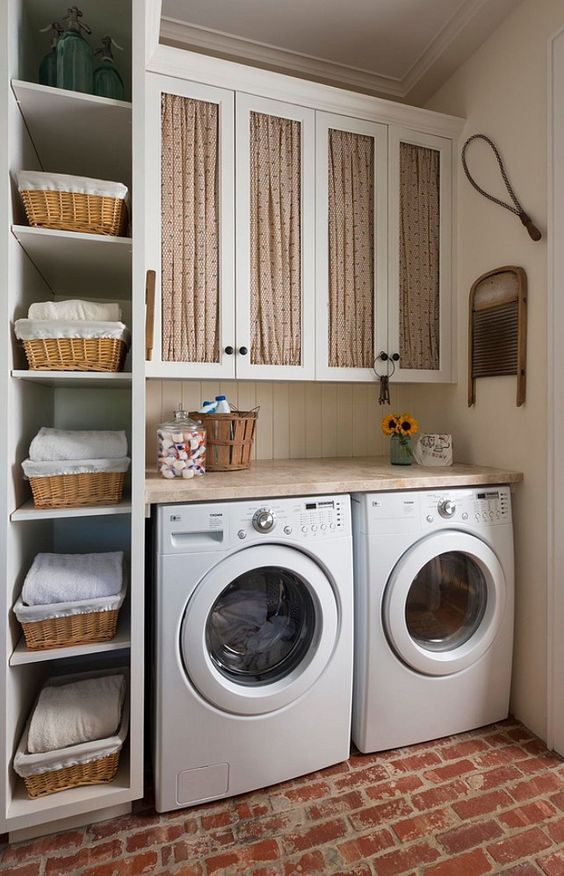 rustic laundry room with open shelves