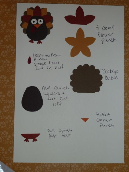 How to make a turkey with Stampin' Up punches...: Punch Ideas, Owl Punch, Cute Pet, Paper Punch, Punch Art, Punchart Direction, Turkey Punchart, Punch Cards, Punch Turkey