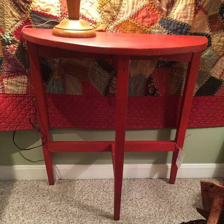 Vintage red half moon table $45. #new #furniture #forsale #painted #upcycled #recycled #whatsnewwednesday #red #vintage #halfmoon #table #junktojazz #berkscounty #pennsylvania by junktojazz