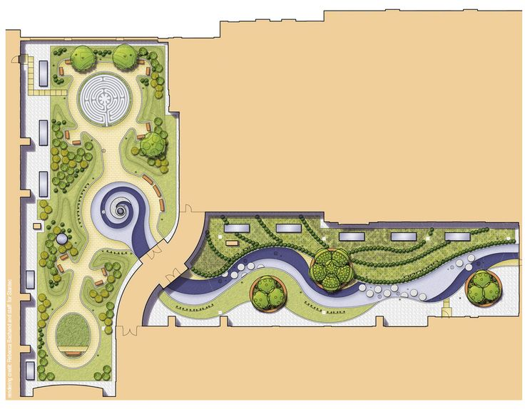 Baystate Medical Center Hospital of the Future / MassMutual Wing green roof plan rendering; designed by Rebecca while she was with Stantec Planning & Landscape Architecture, P.C.  The left side of the plan was recently completed and dedicated as the D'Amour Family Healing Garden.  A pediatric garden is planned for future phases, and is shown on the right side  of the plan.