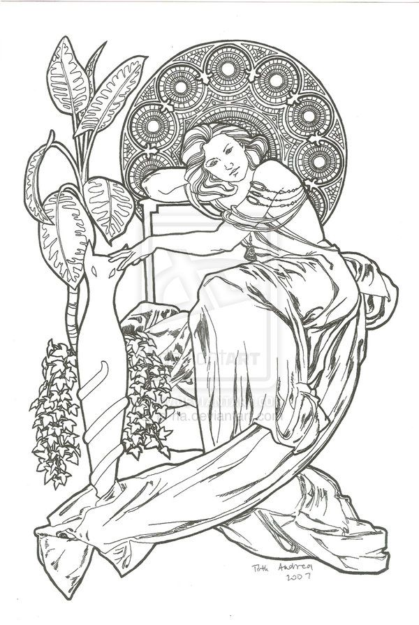 Some Old Drawing In Art Nouveau Style Its Part Ofa Series Containing Six Drawings With The One Of My Sister Size Tools Graphite Pencil For Sketching