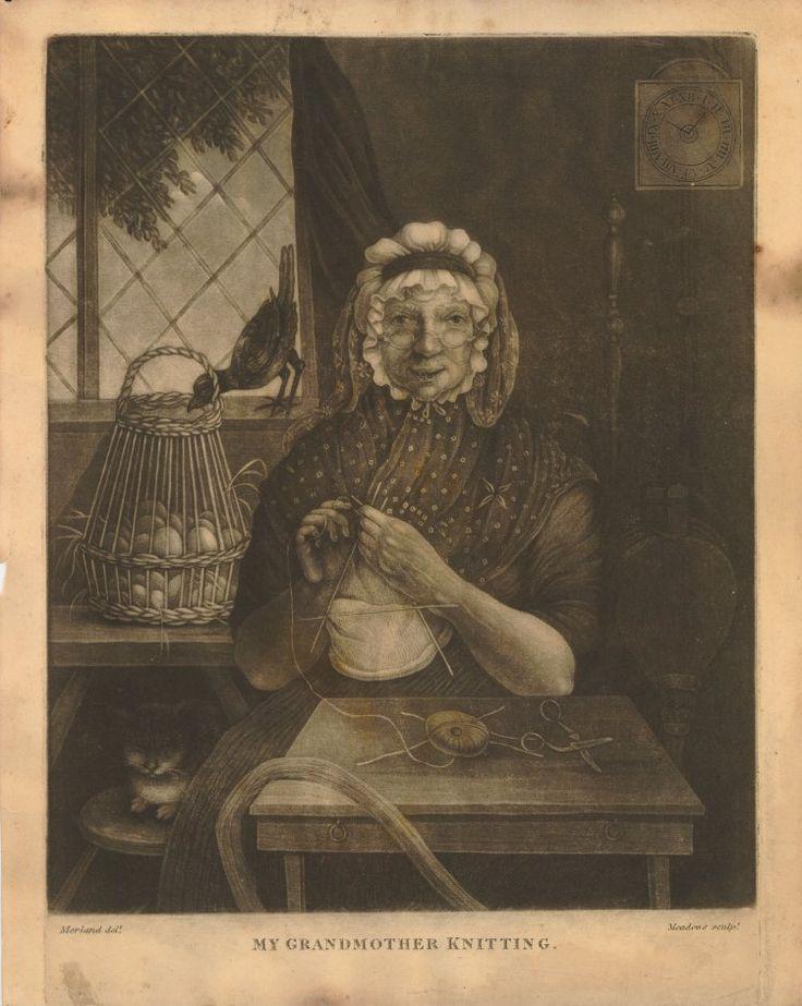 Image gallery: My Grandmother Knitting; British Museum c. 1800. Nice handkerchief detail.