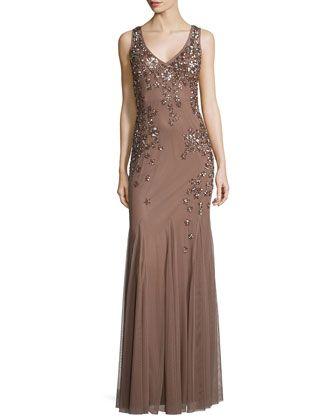 Sleeveless Beaded Godet Gown  by Aidan Mattox at Neiman Marcus.