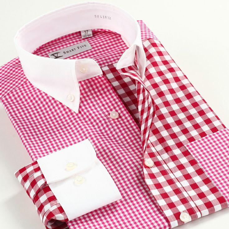 Smart five autumn slim waist 100% cotton long-sleeve plaid shirt male US $48.90