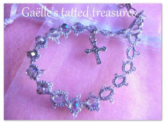 Guarda questo articolo nel mio negozio Etsy https://www.etsy.com/listing/225950015/rosario-bracciale-in-pizzo-chiacchierino