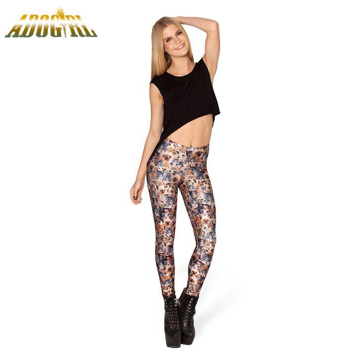 Adogirl Fashion Women Leggings Cute Kawaii Cat Printed For Ladies Casual Leggings Cool High Waist Long Pants For Teens Leggings