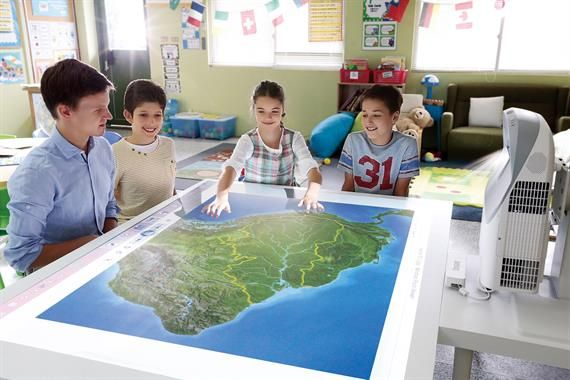 Kids around table with interactive projector