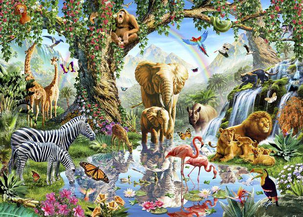 Jungle Lake with wild Animals - Fotobehang & Behang - Photowall