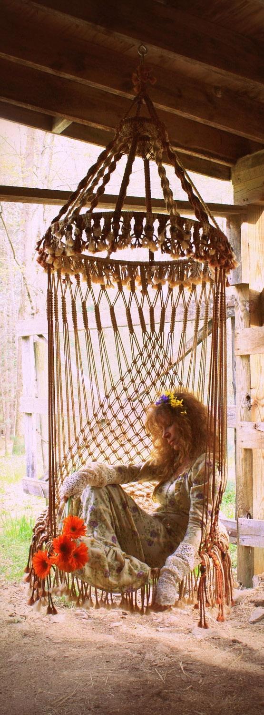 Handmade OOAK Macrame Vintage Retro Style Hanging Woodstock Hippie Elf Fairy Chair by MajikHorse on http://www.etsy.com/listing/92442239/handmade-ooak-macrame-vintage-retro