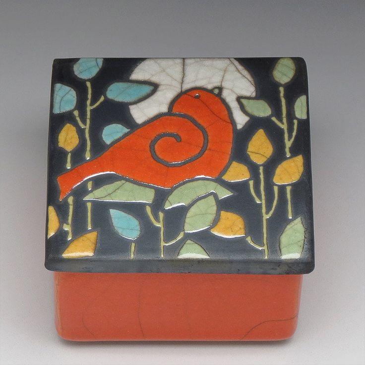 Bird,ceramic box , art pottery,for the home, handmade, raku,trinket box. $69.00, via Etsy.