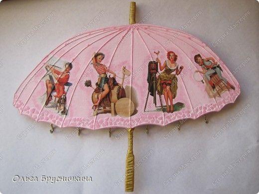 Декор предметов, Мастер-класс Декупаж: Ключница-зонтик для Барби. Акварель, Бисер, Бумага журнальная, Гуашь, Нитки, Тесьма. Фото 1