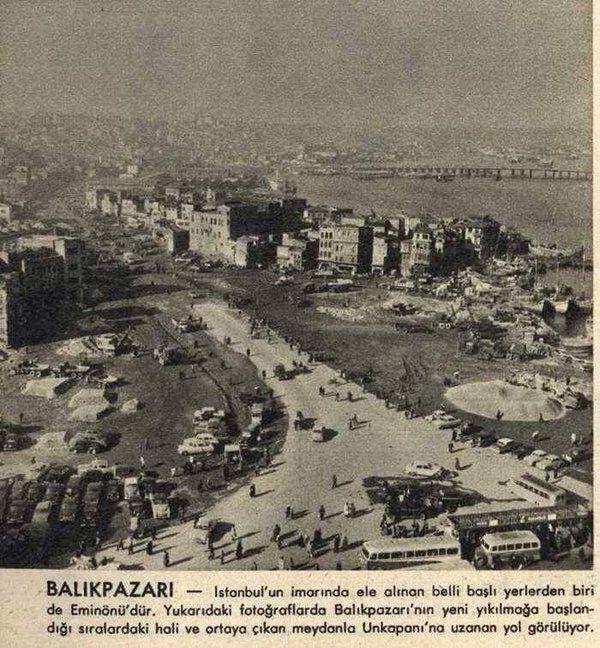 """Şimdi Eminönü otobüs duraklarının olduğu yerde bir zamanlar """"Balık Pazarı"""" vardı... #birzamanlar #istanlook #nostalji"""