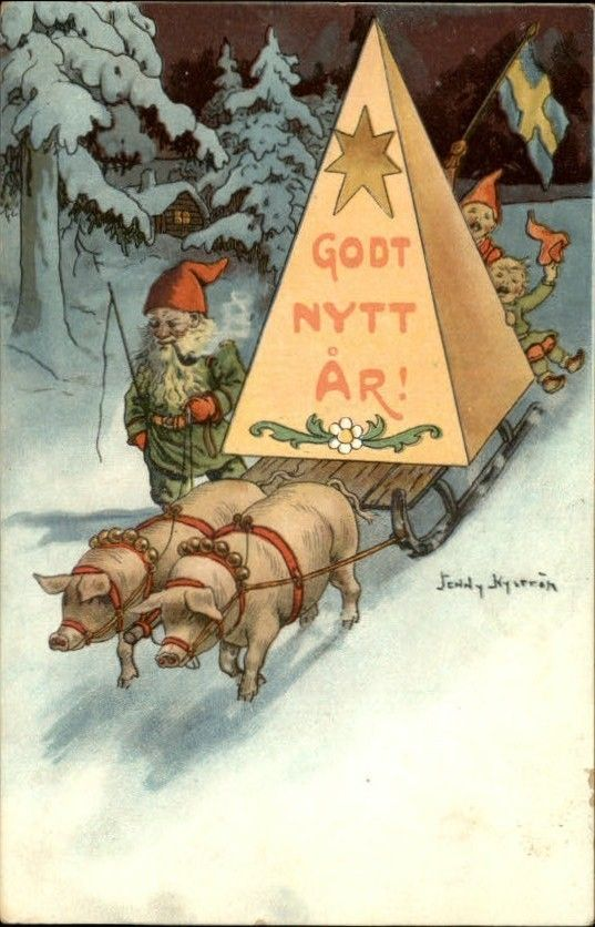 A s Jenny Nystrom New Year Godt Nytt AR Pigs Gnomes Fantasy c1910 PC