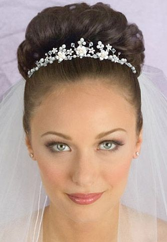 Delicate Crystal, Pearl and Porcelain Floral Bridal Tiara with Veil