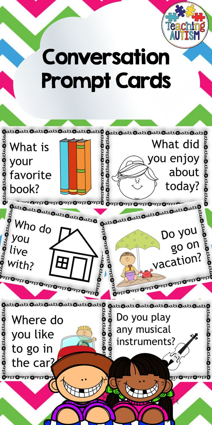 Conversation Prompt Cards Social Skills  This product includes 60 different prompt cards, they come in black and white or color (120 in total). Child friendly, nice and fun clipart to entice students.  These are fantastic for prompting students to start conversations with each other, especially for morning work, social skills groups etc.