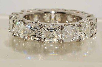 $165,500 10.71Ct Square Emerald Cut Diamond Eternity Wedding Band Platinum VS