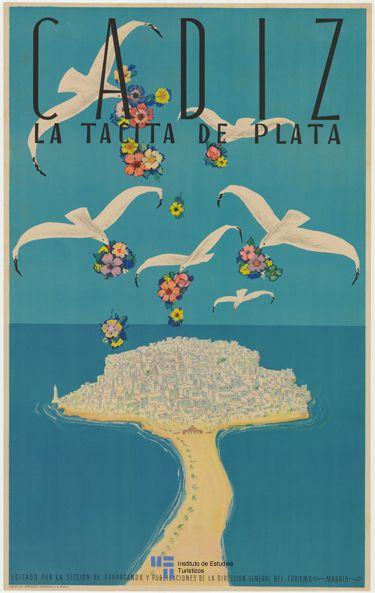 Cartel de #turismo de Cadiz del año 1941. Spain - via #Viajology