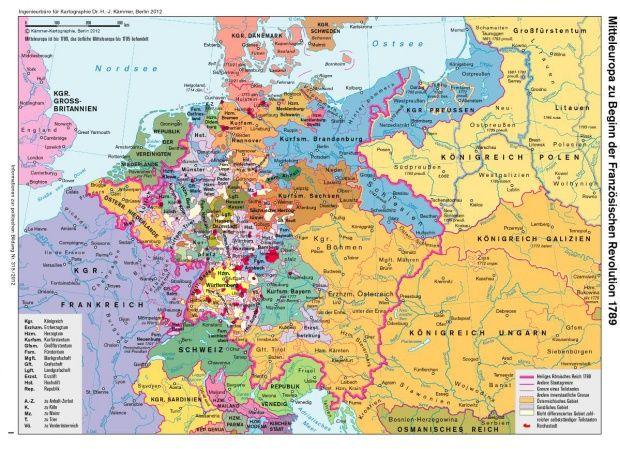 Mitteleuropa zu Beginn der Französischen Revolution 1789 (© Die Karte ist urheberrechtlich geschützt (§ 52a UrhG). Für eine kommerzielle Nutzung wenden Sie sich an Kämmer-Kartographie, Berlin (www.kartographie-kaemmer.de))