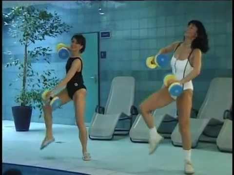 Аквааэробика Упражнения с большими мячами 2005 - YouTube