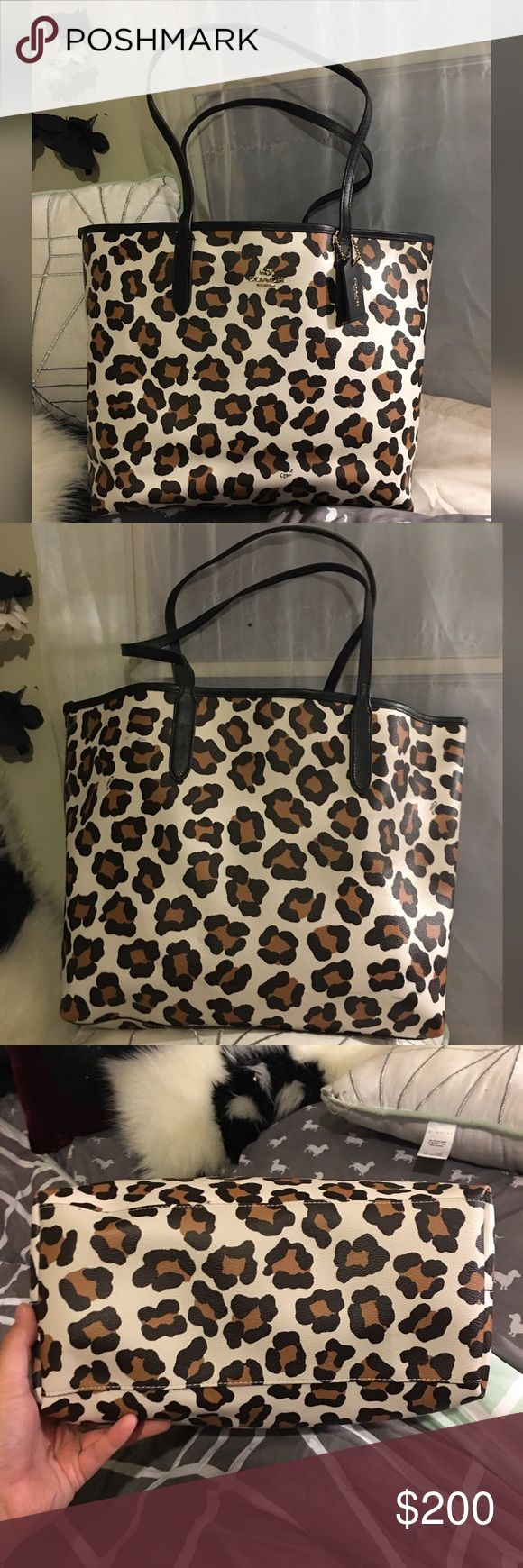 MAKE AN OFFER Brand new leopard coach tote Brand new never used leopard coach tote bag. Very stylish and about the size of a lv neverfull mm Coach Bags Totes