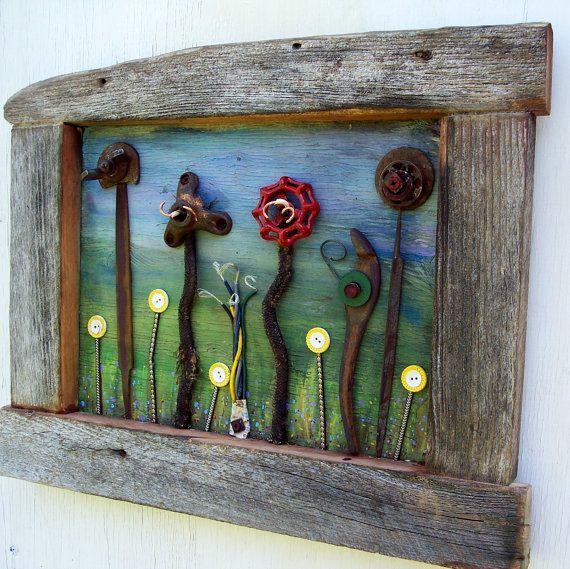 Salvage Garden Art Assemblage Reclaimed Wood Frame