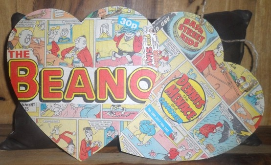 20cm high Vintage Beano comic hearts