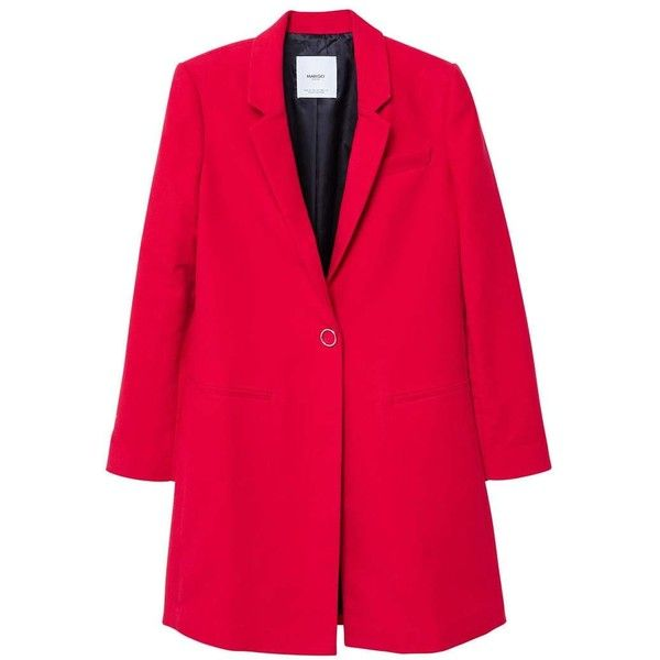 MANGO Lapels structured coat ($90) ❤ liked on Polyvore featuring outerwear, coats, red, red coat, lapel coat, fur-lined coats, pink coat and cotton coat