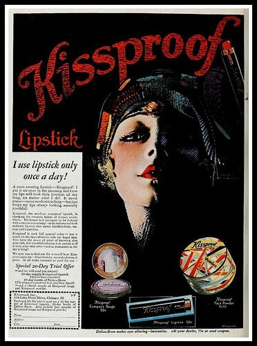 Her lipstick stays on all day long no matter WHAT she does.  Hmm.  (1929)